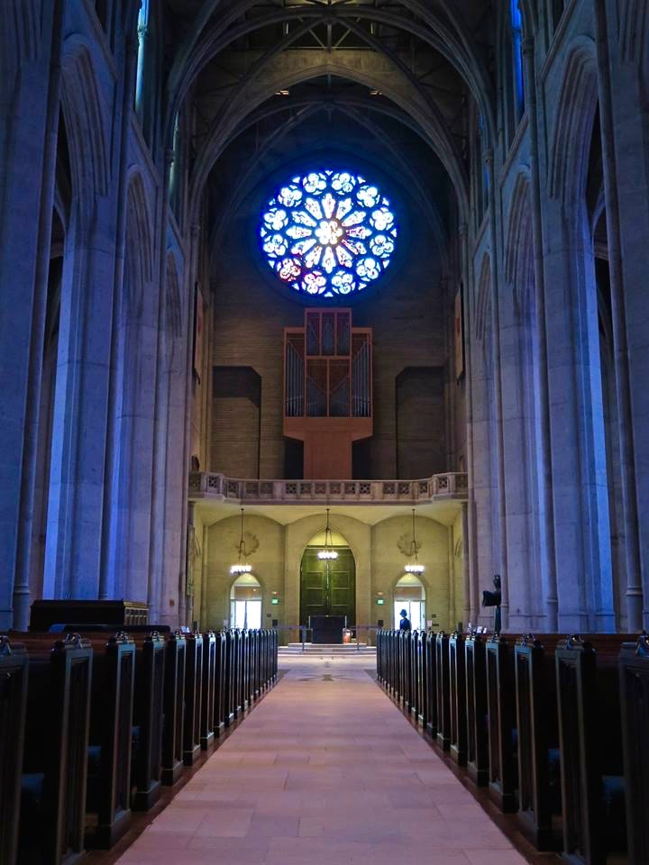 The Rose Window is 25 feet of faceted glass that symbolizes the themes of the Canticle of the Sun, a famous devotional poem written by St. Francis of Assisi.