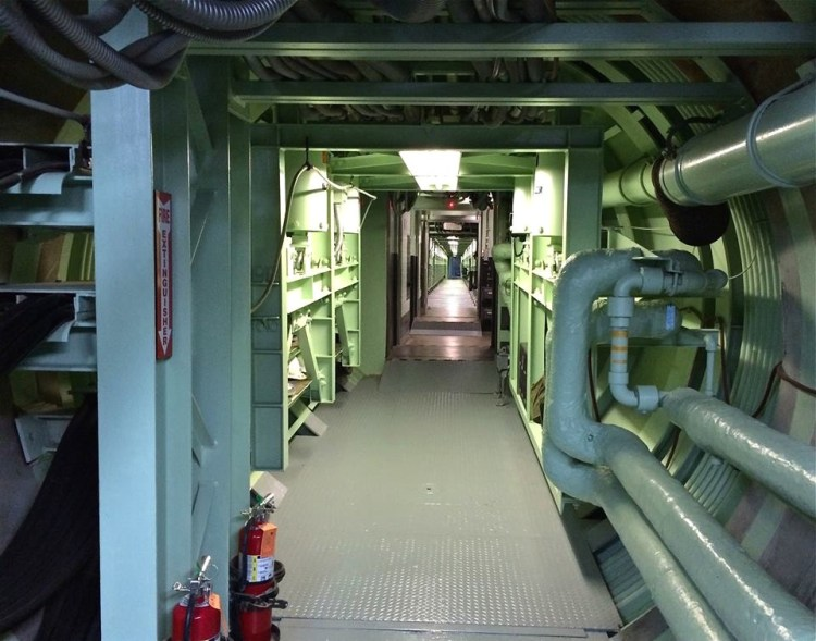 One of the two 9 1/2 ft. diameter underground cableways connecting the missile silo and Launch Control center to the blast lock area.