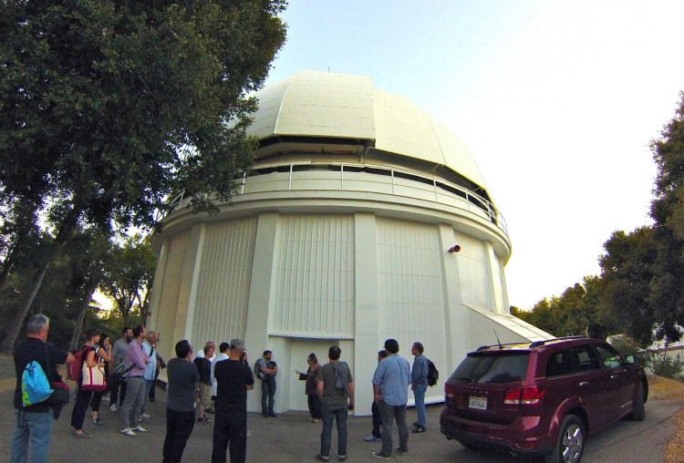 Our group of 25 entered the Observatory grounds @ 7:45pm, which allowed us to catch the final moments of light while viewing the outside of the 60-inch Hale telescope which was built in 1908.