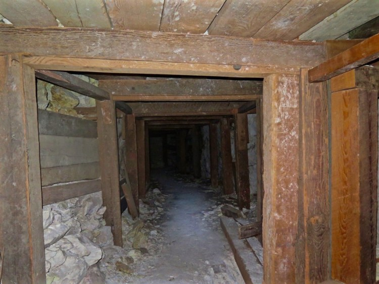 Since talc isn't known for its stability properties, wood was often used to shore up the mines, especially near the entrances.