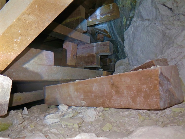 This Jenga pile was right next to that deep, dark vertical shaft to hell.