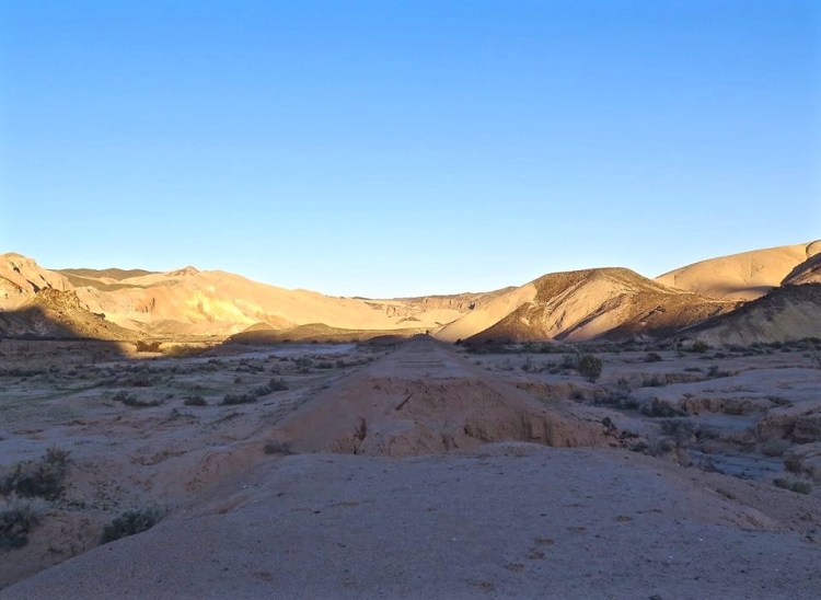 The mesa also overlooks the historic Tonopah & Tidewater Railroad (T&T) roadbed. The (T&T) operated between 1905 and 1938 servicing mines and communities along a route which extended north from Ludlow, California into western Nevada.