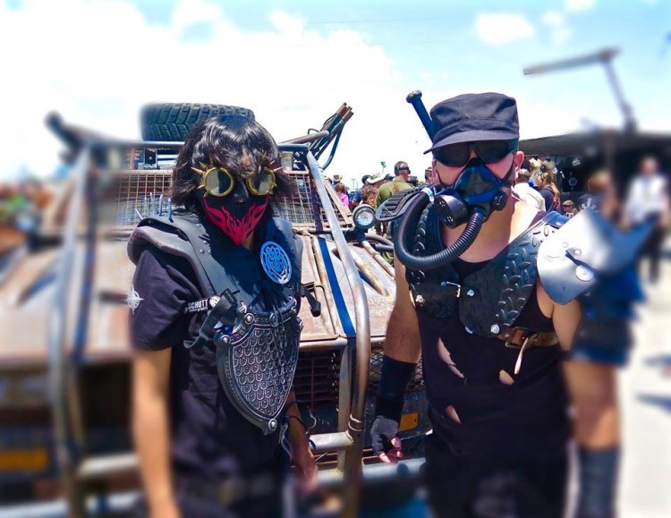 """2011 The 2011 event nearly doubled in size and included large new set pieces such as the iconic Wasteland Gates, as well as the now familiar layout that separated a completely themed """"Wasteland City"""" from a less-strictly enforced camping and parking area for those attendees who may have had their costumes ready, but did not possess fully-themed cars or campsites."""