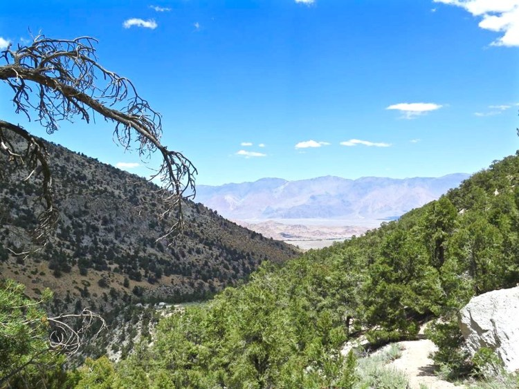 Looking back at beautiful Owens Valley, the Inyo Mountains and
