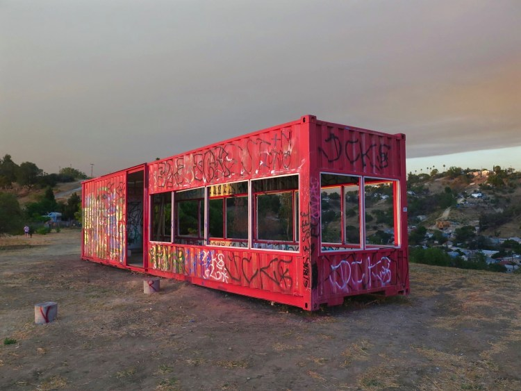 """While he describes the container as an """"eco home"""" and an """"experiment in sustainable living."""""""