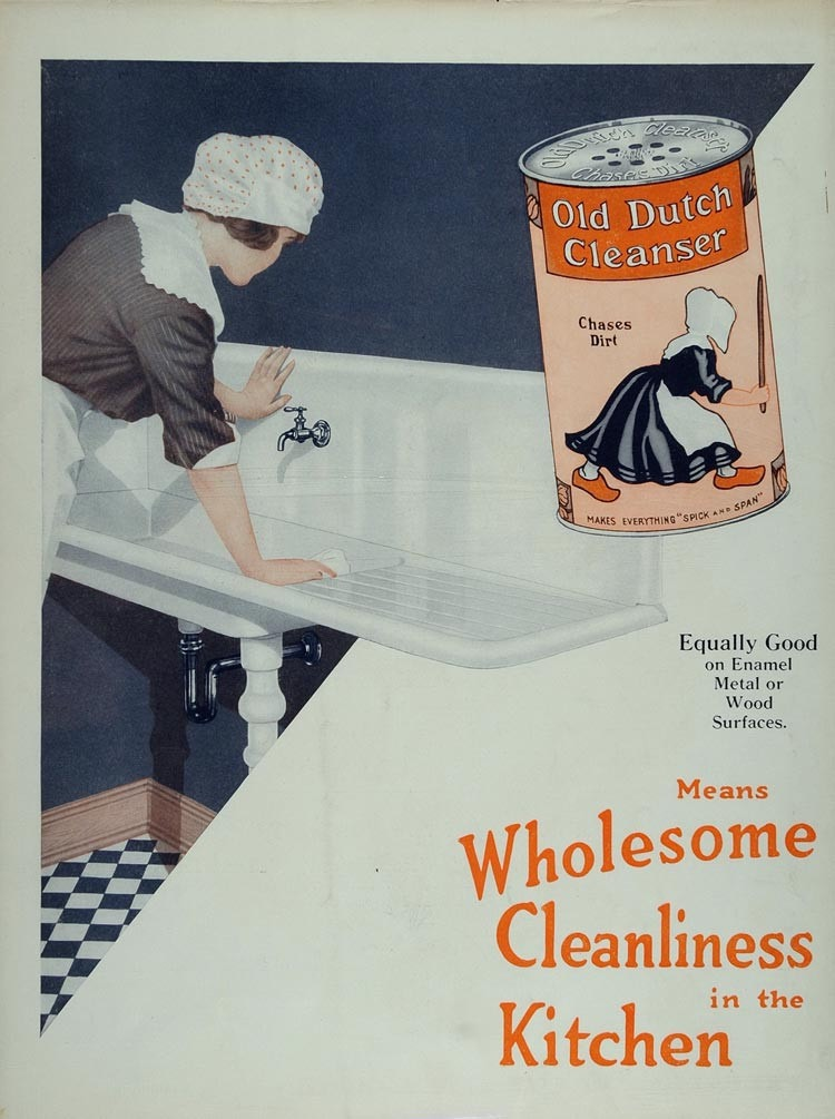 Old Dutch Cleanser was one of the most recognizable brands of the early 20th century. The domestic scouring agent, along with Comet and Bon Ami, was one of the biggest players in the pumice-based kitchen cleaner categories.