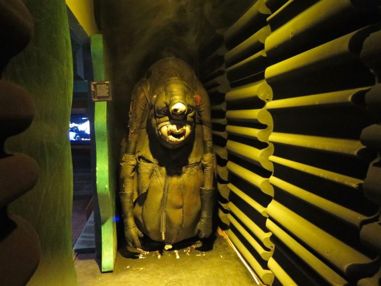 "etting into the abduction gallery involves going past the door marked ""Do not enter: Alien autopsy occurring"" and walking through a small tunnel where a fog machine offers an eerie feel. The tunnel, Bouquet said, is meant to re-create the feeling of abductees who report seeing a white light and feeling disoriented."