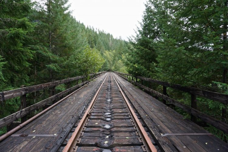 The wooden trestle is more than 100 years old but remained strong after the pummeling storms.