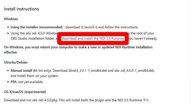 NDI Plugin Install
