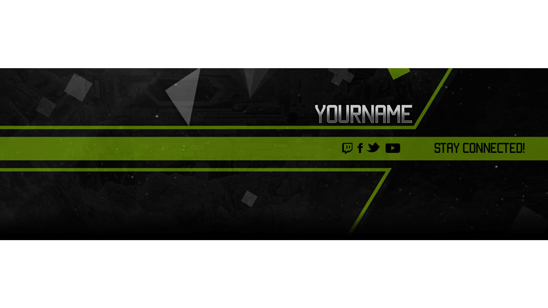 green banner psd youtube gaming