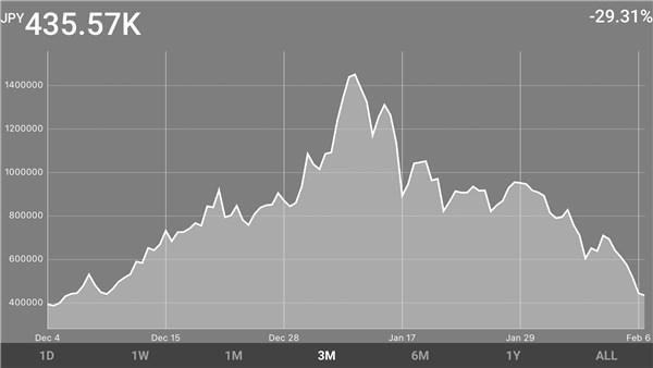 Blockfolio 資産推移グラフ 20180206