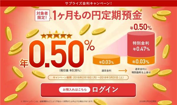 1ヶ月もの円定期預金特別金利キャンペーン! じぶん銀行