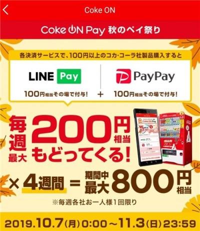Coke On Payで毎週最大200円還元