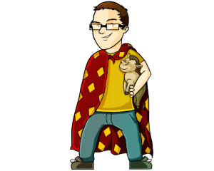 Cartoon Image of Lil' Calvin wearing a blanket cape and carrying a stuffed horse