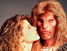 Linda Hamilton and Ron Perlman in TV's original modern fairy tale romance 'Beauty and the Beast'
