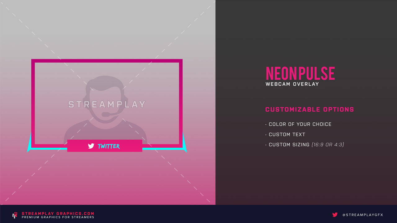 pink twitch webcam overlay neon pulse