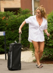 EXCLUSIVE Model and TV star of Gypsy Weddings Danielle Mason and sister of Eastenders star Jessie Wallace returns home after what looks like a night away!! wearing just a shirt and Thong as she took her case from her car , Danielle is said to have set her sights on BB star Bear! ¿Exclusivepix Media