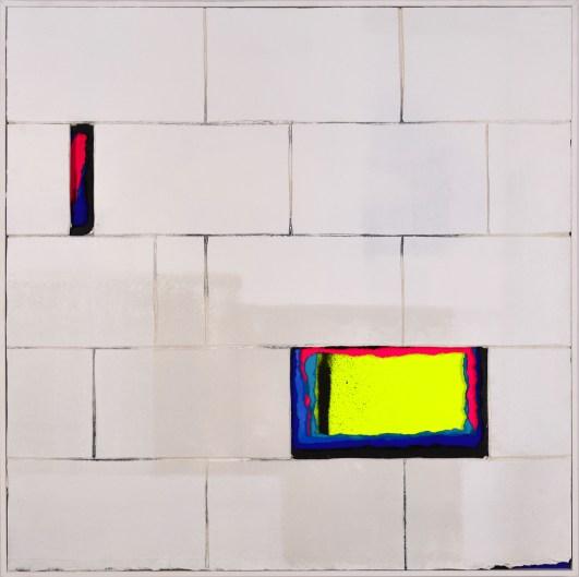 FAULT 3, 100X100, Papiers déchirés et plaque plâtre, ZEST 2018 ©Kolly Gallery
