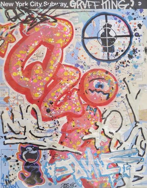 """""""Graff King"""" New York map Lin Felton alias Quik, technique mixte sur map de NYC, Las Vegas, 2018 ©Galerie Green Flowers Art"""