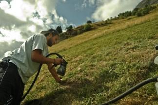 Saype travaille à la peinture 100 % biodégradable ©Saype