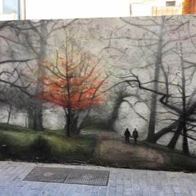 das Mural von Zíngaro zeigt ein Bild das den Herbst in Bremen darstellen soll