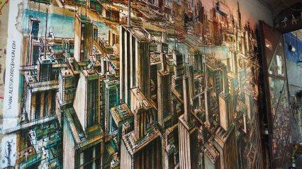 Alessandro Cemolin hat eine ganze Mauer mit einer Stadtansicht bemalt