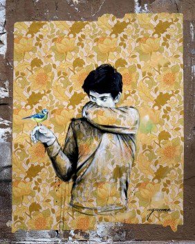 ein Junge hat einen Vogel auf seiner Hand
