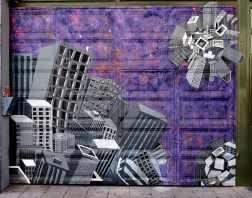 Hochhausplaneten auf lila Grund
