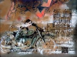 Motorradfahrer vor Notre Dame