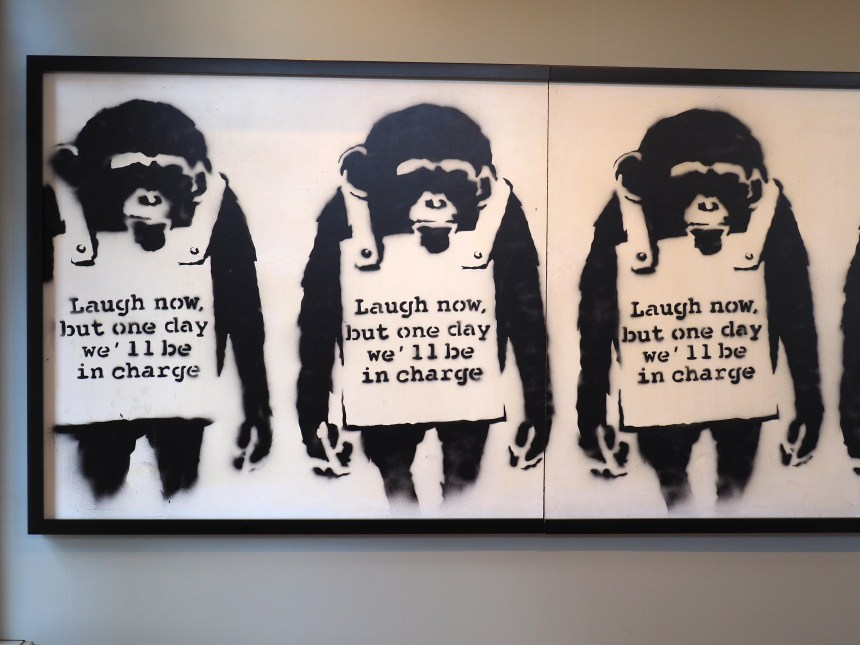 """Affen tragen ein Schild: """"Laugh now, but one day we´ll be in charge"""