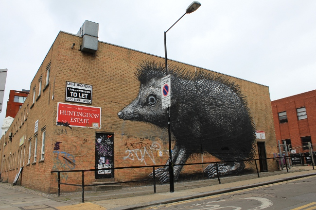 Roa Street Art London Chance Street 2 ROA Hedgehog pops up in Shoreditch