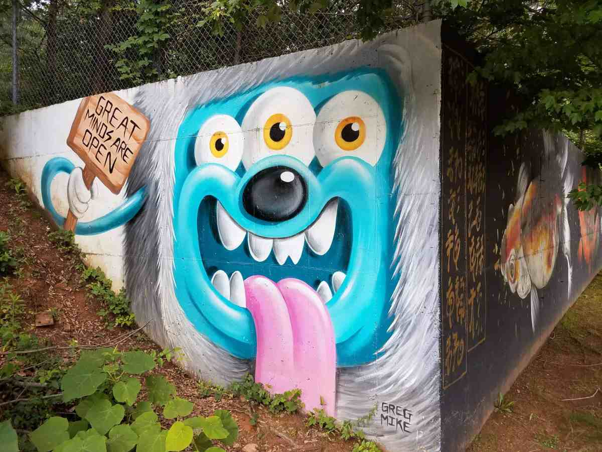 Street art featuring a three eyed dog by artist Greg Mike in Old Forth Ward Atlanta