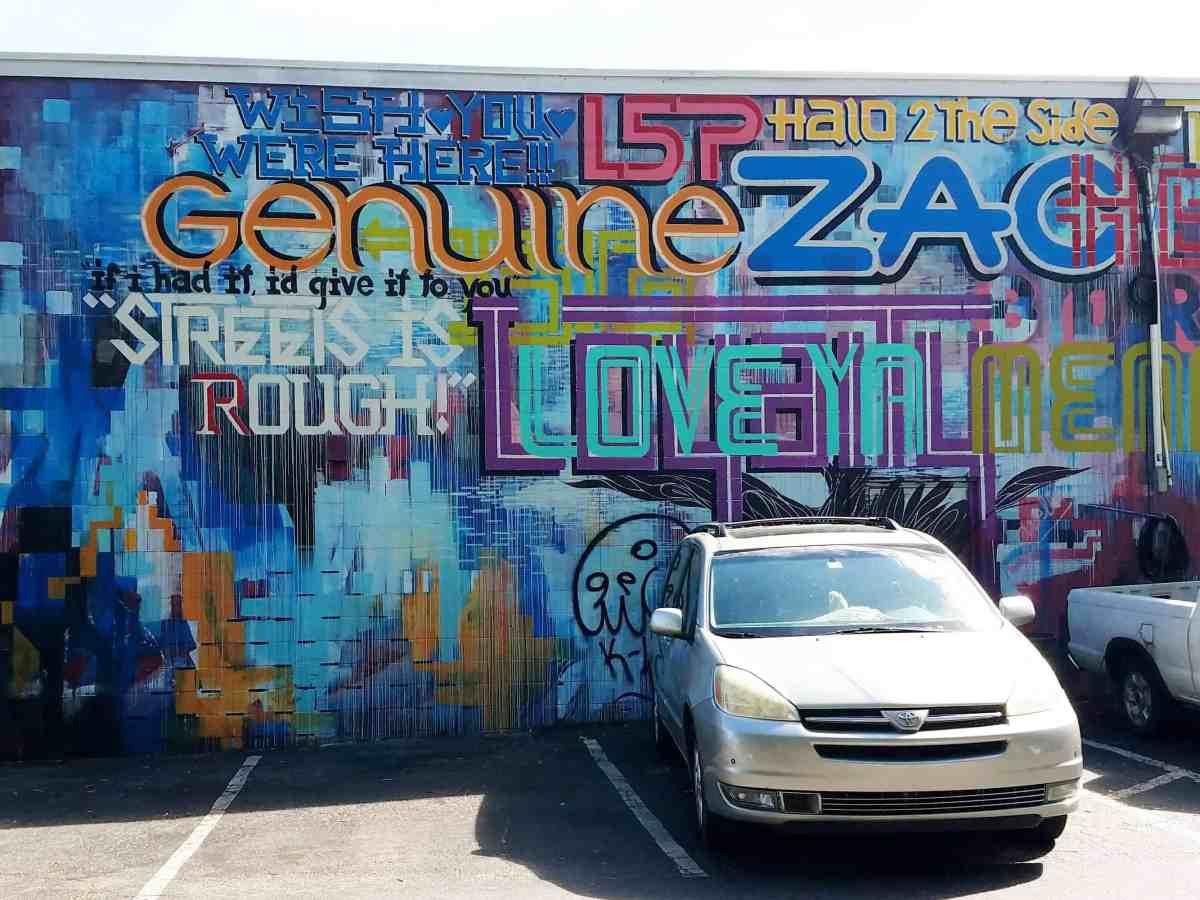 Street art featuring lettering in Little Five Points.