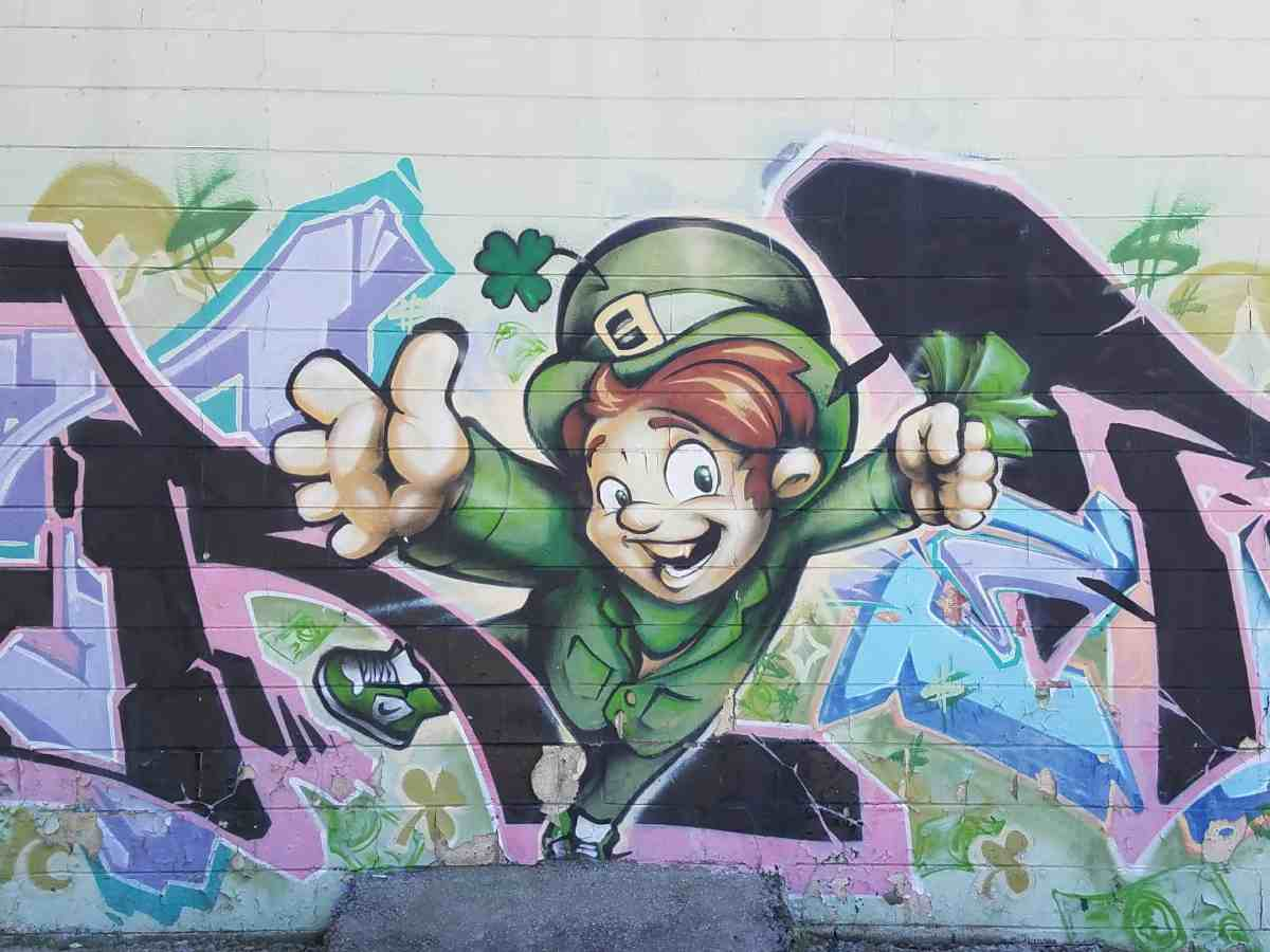 Graffiti of a leprechaun in Old Fourth Ward Atlanta