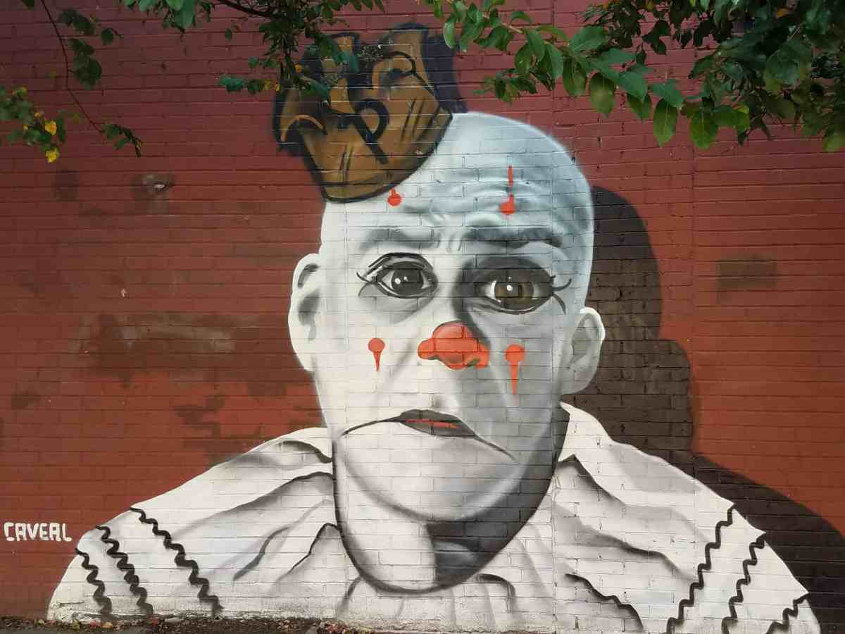 Street art featuring a clown by artist Chris Veal in Grannt Park Area
