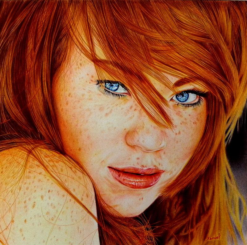 cute_redhead___ballpoint_pen_by_vianaarts-d6cd1e1