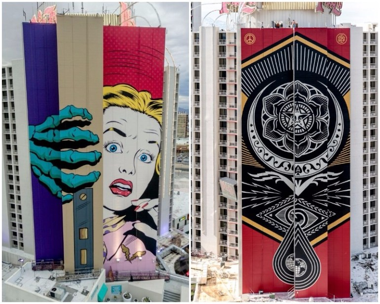 Justkids Unveils 2 Colossal Murals By Shapard Fairey & D*Face In Las Vegas
