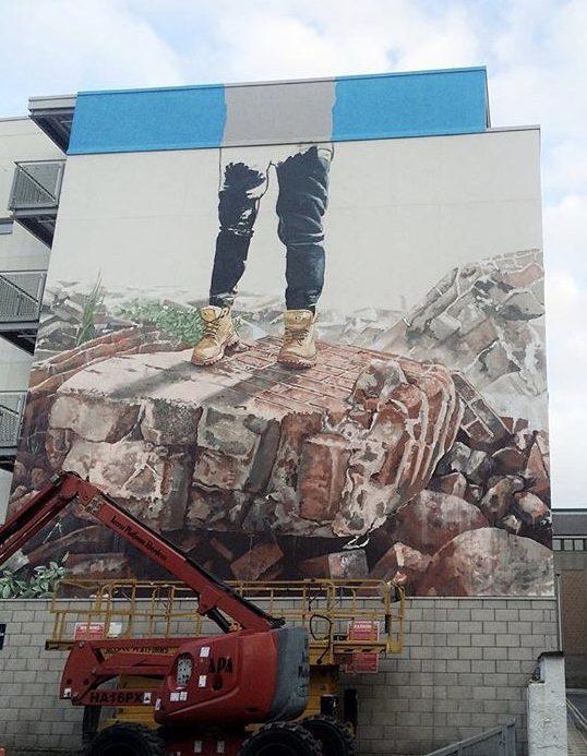 The broken wall by fintan magee in aberdeen street art for Broken wall mural