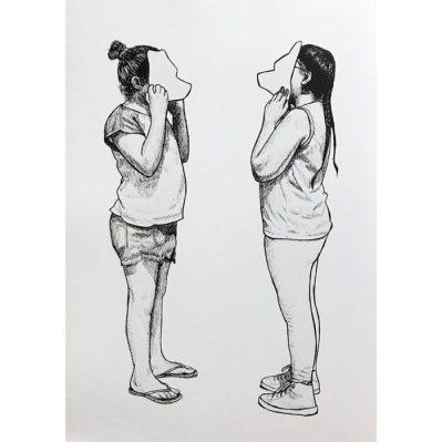 Enfrentadas - Pen on white paper
