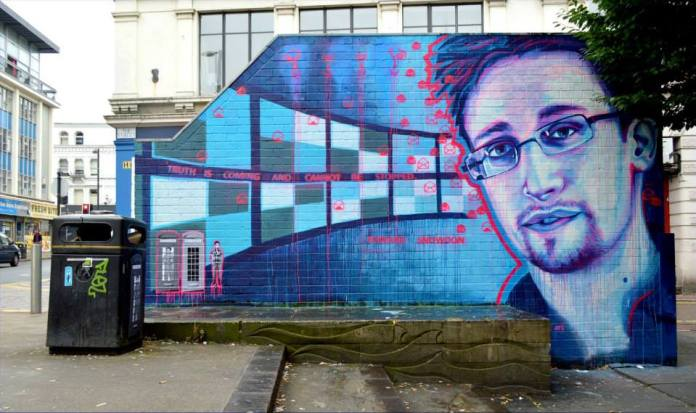Street Art by SLM in support of Edward Snowden