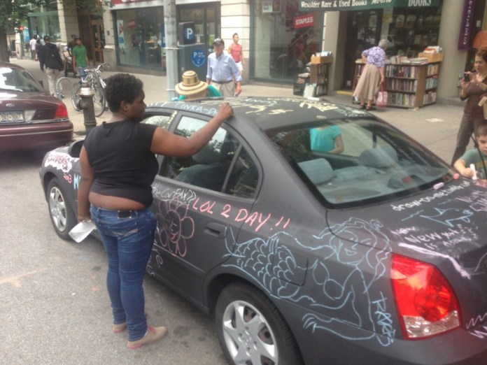 Chalkboard coated car as canvas in New York, USA 4