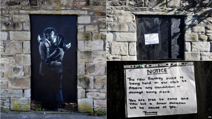 Phone Lovers - Street Art by Banksy in Bristol, England 3