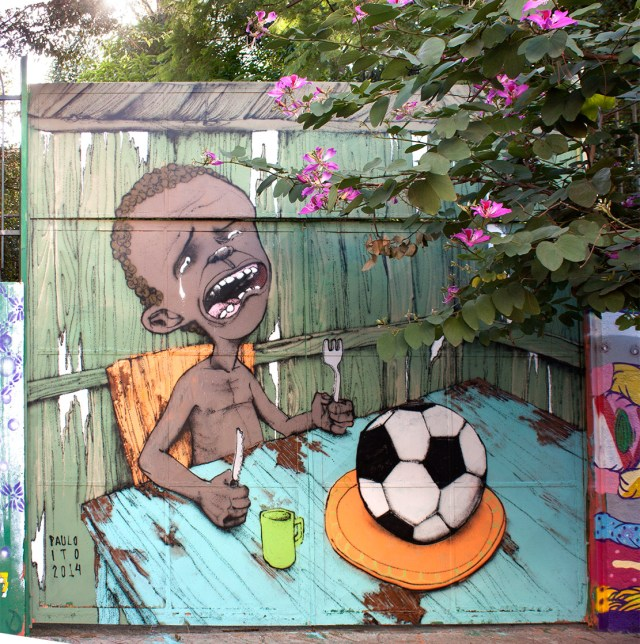 Street Art by Paulo Ito in Pompeia, São Paulo, Brazil - Comment on 2014 FIFA World Cup Brazil
