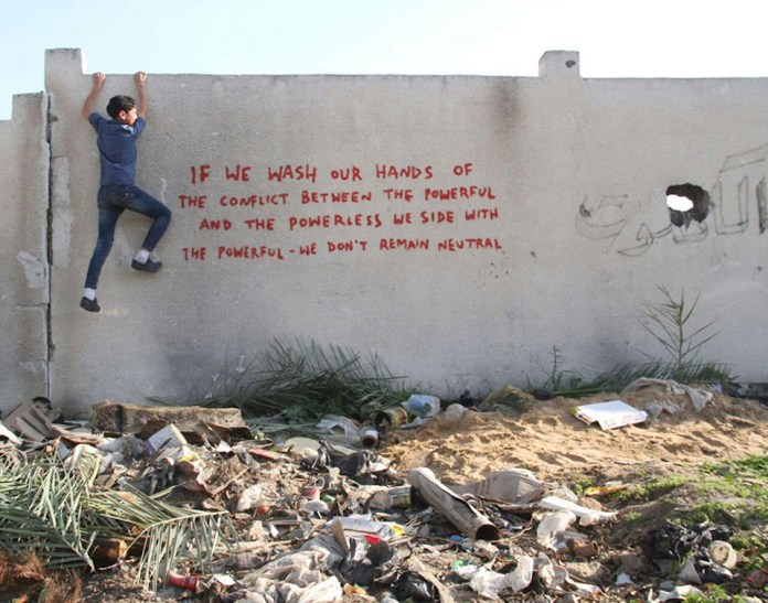 Street Art by Banksy in Gaza, Palestine 5