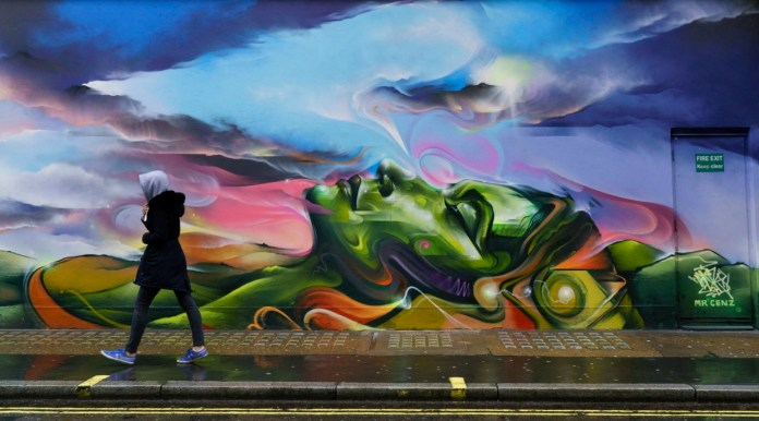 Street Art by Mr Cenz in the Shoho district in London, England 2015