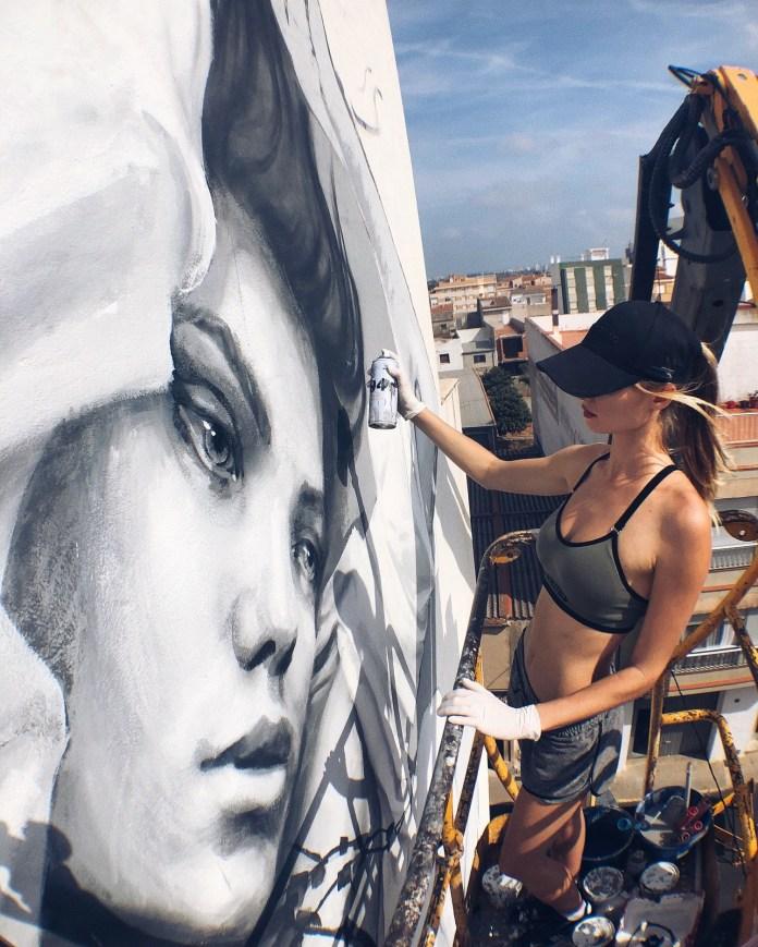 Street Art by Street Artist Volchkova at Citric Festival in Torreblanca, Spain