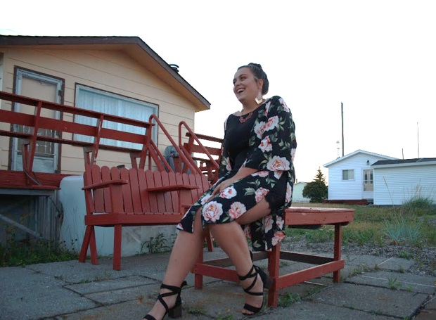 Kenze in floral dress in Stephensville Newfoundland