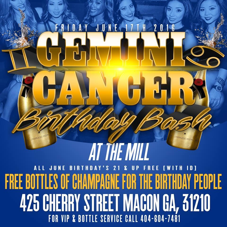 Gemini Cancer Birthday Bash at The Mill