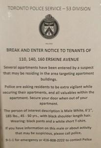 Police warning of break-ins