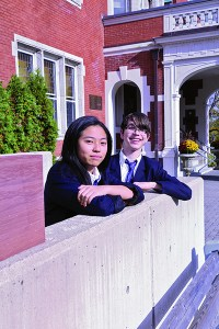 GETTING PAST THE WALL: Tanya Chen, left, and Caden Hughes were taken aback by the heavier workload at private school but found there are always people to help them.